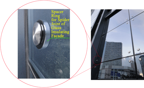 Spider Connection Glass : Spacer rings of insulated glass units for spider joints